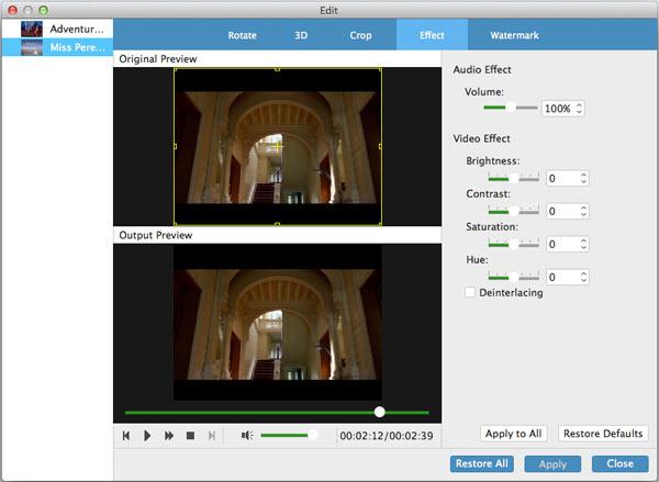 upravte mod video efekty