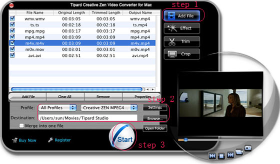 How to Convert Video to wma, wav and mp3 for Creative Zen on Mac/Windows Interface