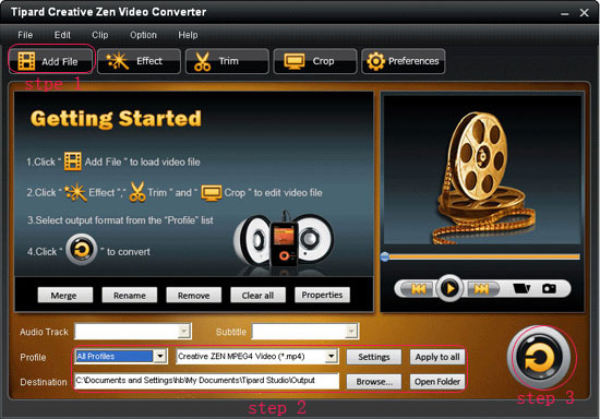 How to Convert Video to wma, wav and mp3 for Creative Zen on Mac/Windows Interface-1