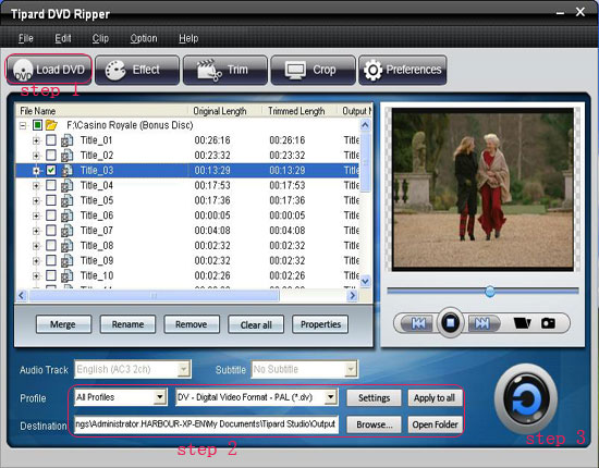 How to Rip DVD to Popular Video Formats Interface