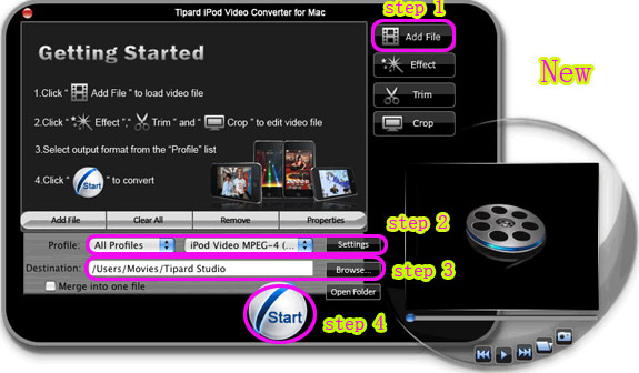 How to Put Movies and Music on iPod for Mac/Windows User Interface