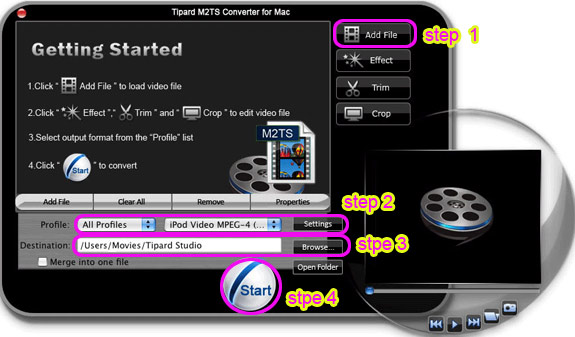 How to Convert M2TS to AVI, WMV, MP4, MOV, 3GP, FLV (Windows/Mac) Interface