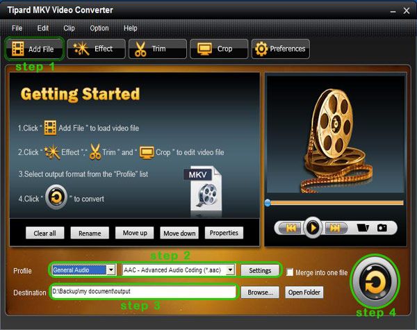 How to Convert MKV to AVI and Video to MP4 Format Interface