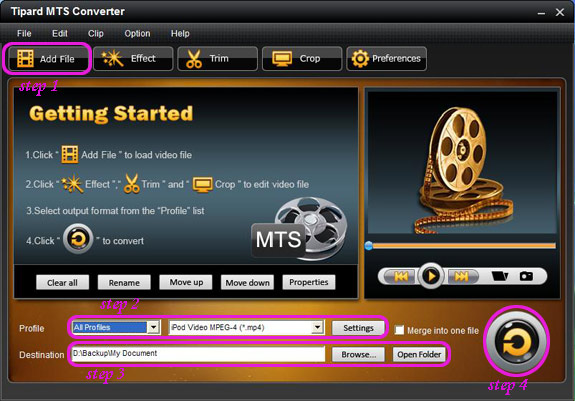 How to Convert MTS/Mod/Tod to AVI/3GP/ WMV/ FLV/ MP4/MPG etc Interface