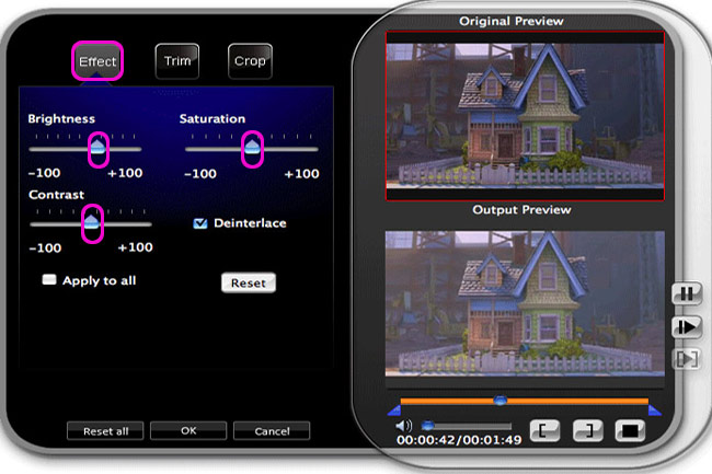 How to Convert HD Video Between HD and Standard Video on Mac/Windows Effect