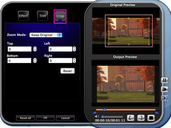 How to Convert Mod/Tod to AVI/MPG/MPEG, WMV/DivX/SWF (Mac/Windows) Crop