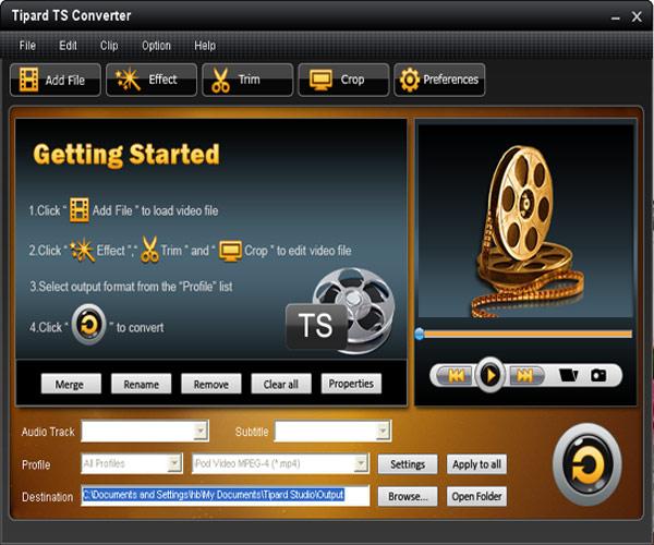 How to convert TS file to AVI/MPEG/VOB/WMV/3GP/MP4/HD videos, etc. Interface