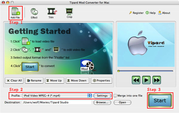 How to convert Mod/Tod/AVI/WMV/RM to any video formats Mac-mod-converter