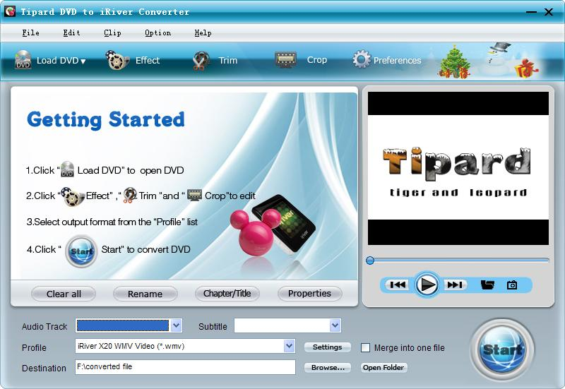 Tipard DVD to iRiver Converter Screen shot