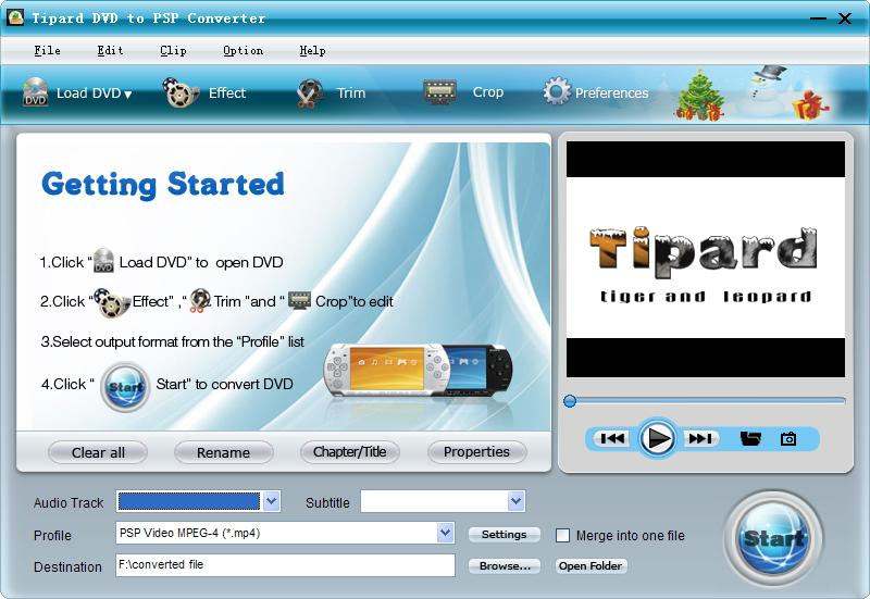 Tipard DVD to PSP Converter Screen shot