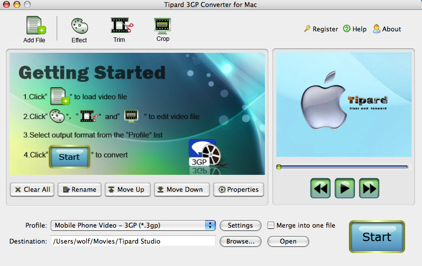 Tipard 3GP Converter for Mac - 3GP Converter for Mac, MPEG to 3GP Mac, Mac 3GP Converter, 3GP Converter on Mac, - an ideal solution to convert video to 3GP on Mac OS X.