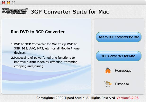 Tipard 3GP Converter Suite for Mac Screen shot