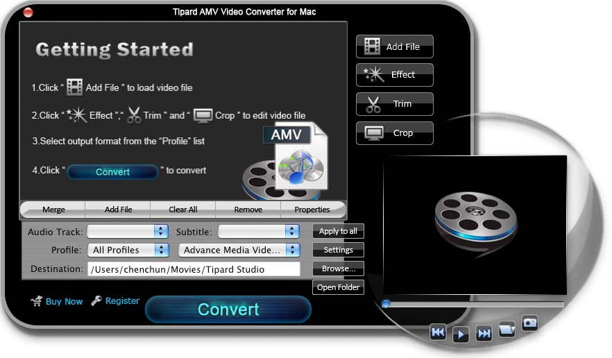 Tipard AMV Video Converter for Mac Screen shot