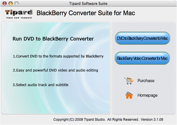 Tipard Mac BlackBerry Converter Suite Screen shot
