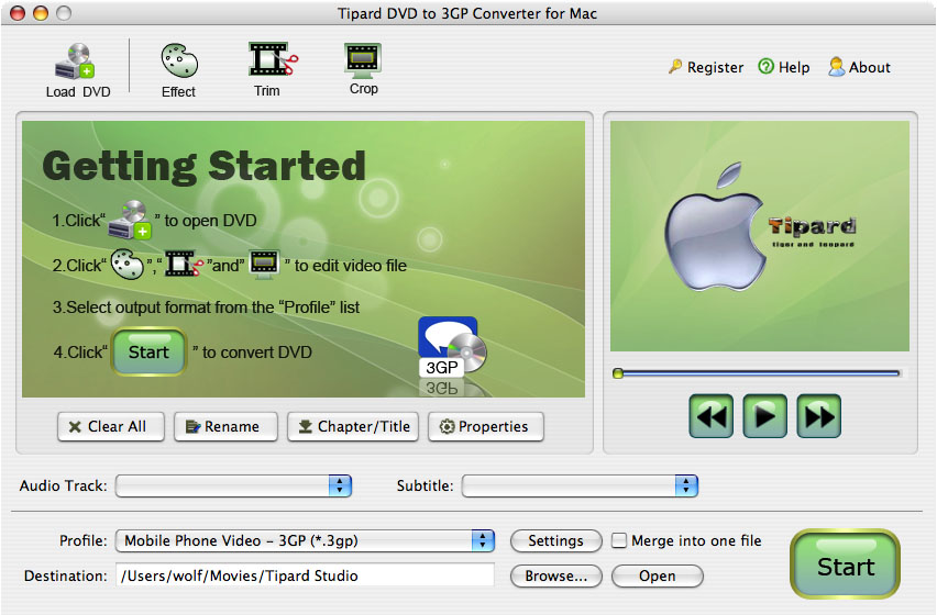 Mac DVD to 3GP Converter.