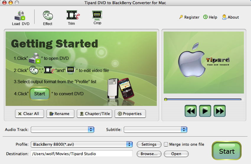 Tipard DVDtoBlackBerry Converter for Mac