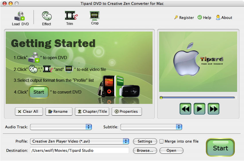 Mac DVD to Creative Zen, DVD to Creative Zen for Mac, Convert DVD to Creative Ze
