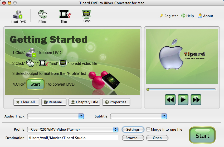 Tipard DVD to iRiver Converter for Mac Screen shot