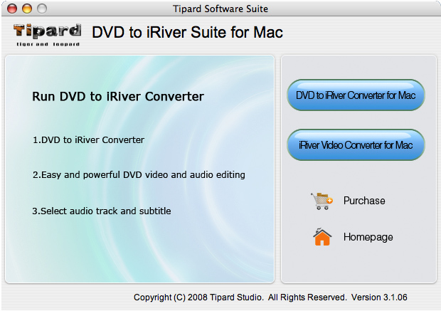 Tipard DVD to iRiver Suite for Mac Screen shot