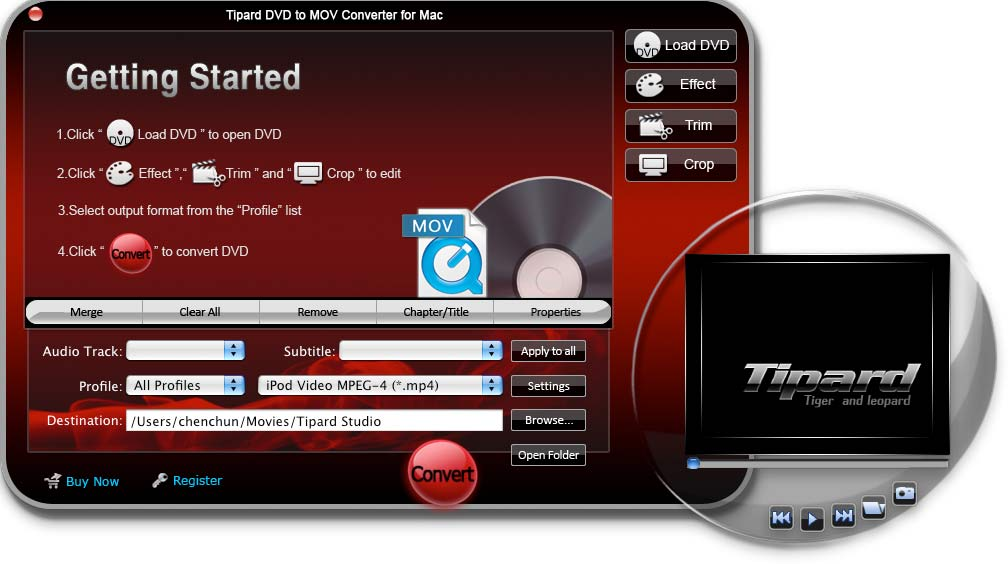 Tipard DVD to MOV Converter for Mac Screen shot