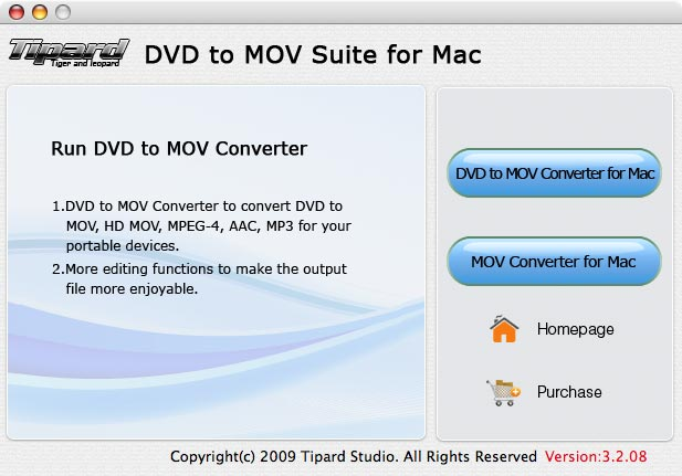 Tipard DVD to MOV Suite for Mac Screen shot