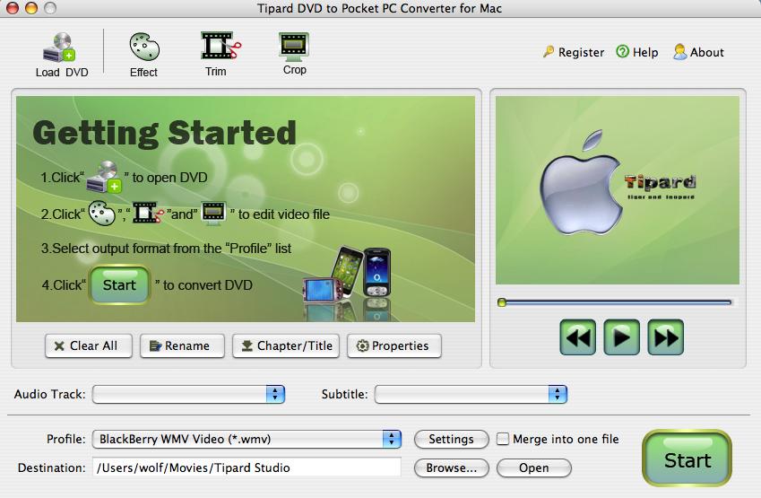 Tipard Mac DVD to Pocket PC Converter