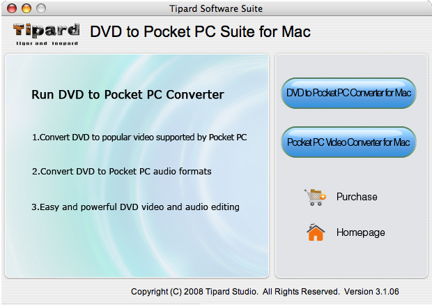 Tipard DVD to Pocket PC Suite for Mac Screen shot