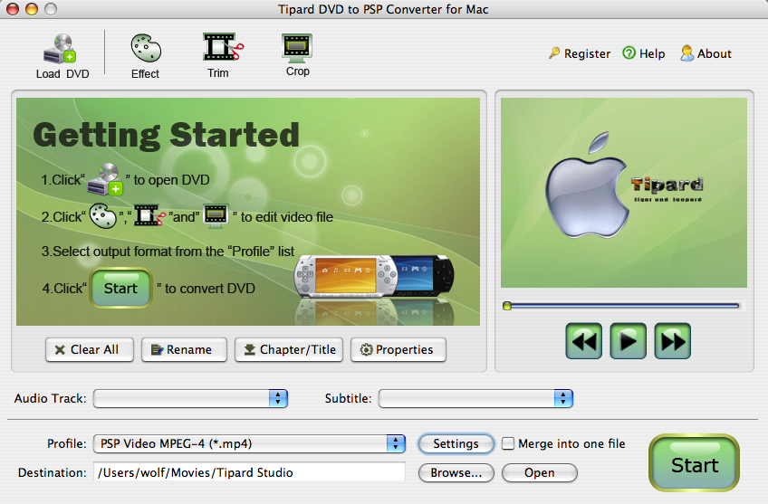 Tipard DVD to PSP Converter for Mac Screen shot