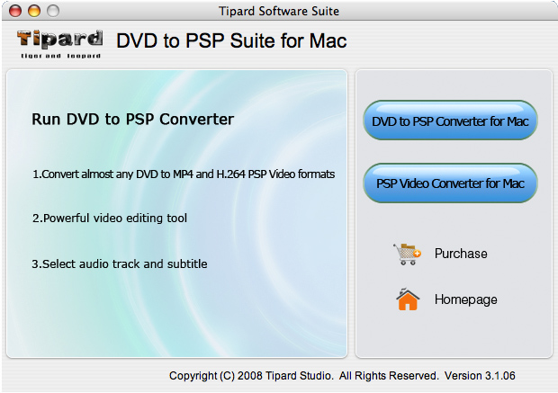 Tipard DVD to PSP Suite for Mac Screen shot
