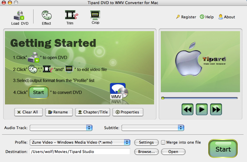 Tipard DVD to WMV Converter for Mac Screen shot