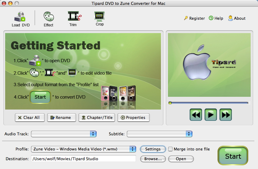Tipard DVD to Zune Converter for Mac Screen shot