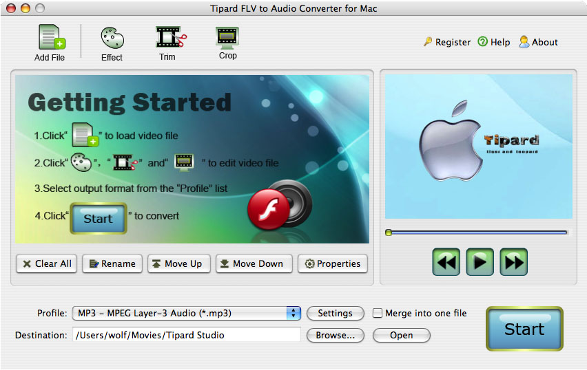 Convert FLV to Audio on Mac.