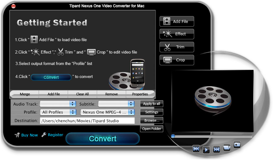 Tipard Nexus One Video Converter for Mac screenshot