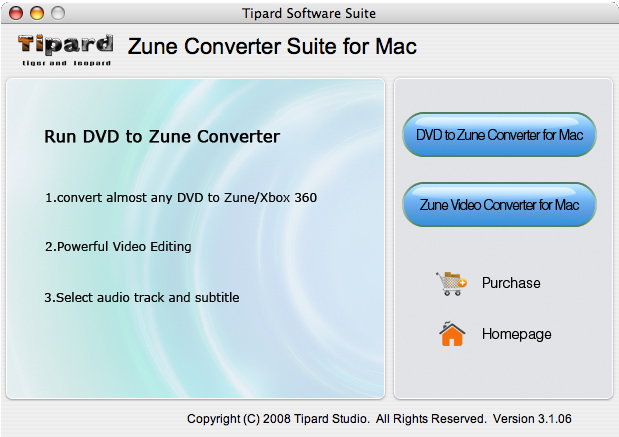 Screenshot of Tipard Zune Converter Suite for Mac 3.1.30