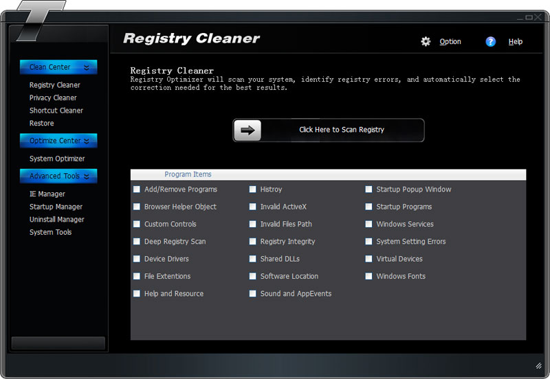 Click to view Tipard Registry Cleaner screenshots