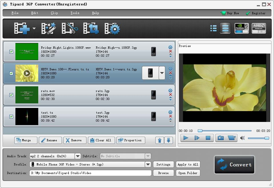 Tipard 3GP Converter Screenshot