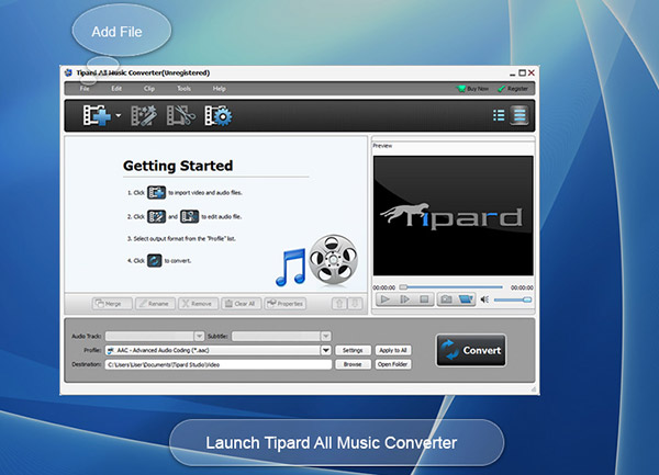 Convert video/audio to MP3, AAC, AC3, FLAC.