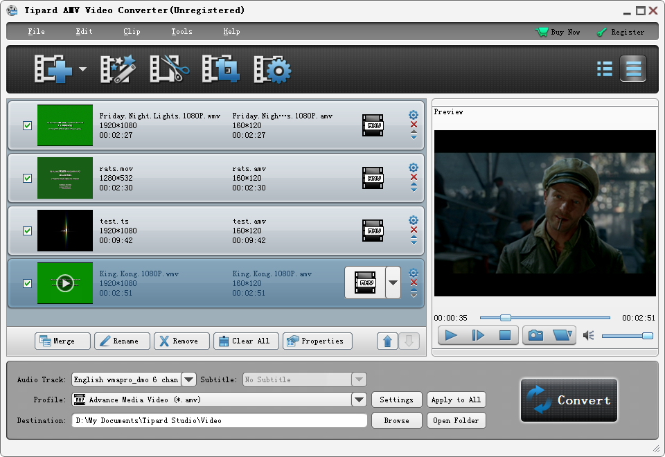 Tipard AMV Video Converter Screen shot