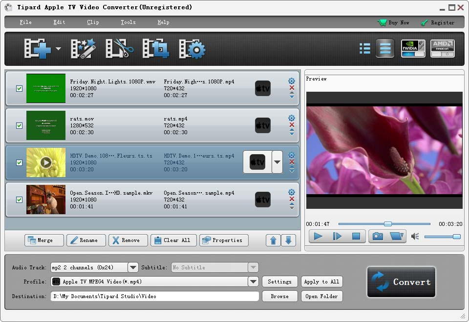 Tipard Apple TV Video Converter Screenshot