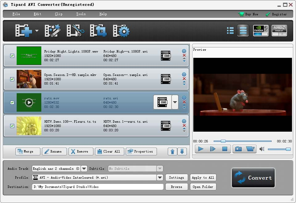 Tipard AVI Converter 6.1.58 Screen shot