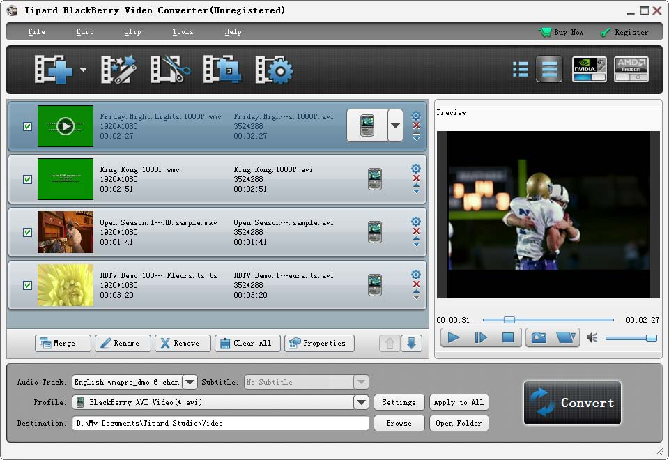Click to view Tipard BlackBerry Video Converter screenshots