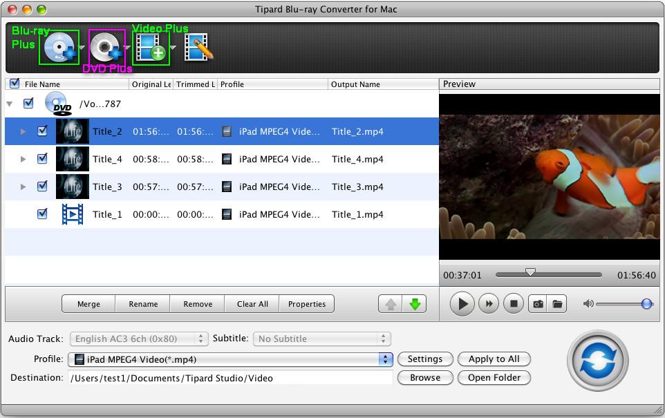 Tipard Blu-ray Converter for Mac – Mac Blu-ray Ripper + Mac DVD Ripper + Mac Video Converter (3-in-1) Load-dvd-guide