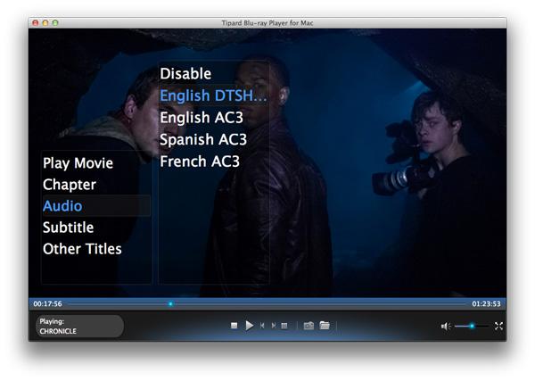Stel audiotrack en ondertiteling in