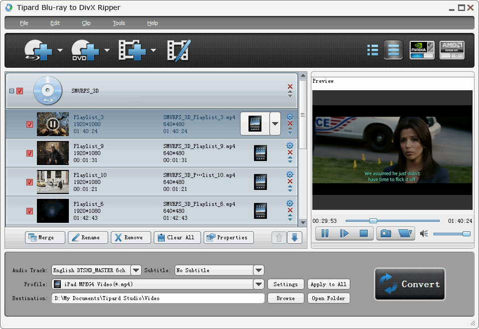 Tipard Blu-ray to DivX Ripper screenshot