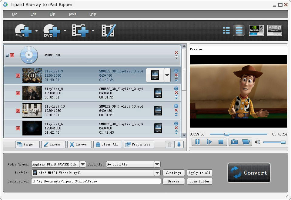 Click to view Tipard Blu-ray to iPad Ripper screenshots