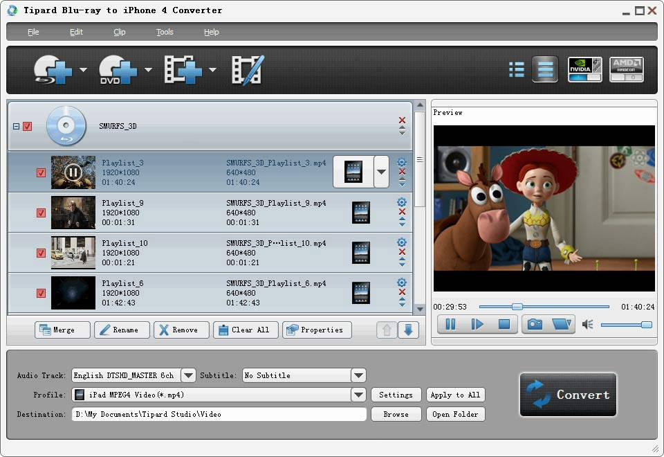 Tipard Blu-ray to iPhone 4G Converter Screen shot
