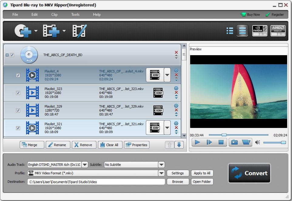 Click to view Tipard Blu-ray to MKV Ripper screenshots