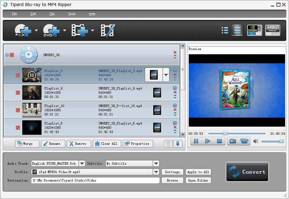 Tipard Blu-ray to MP4 Ripper Screen shot