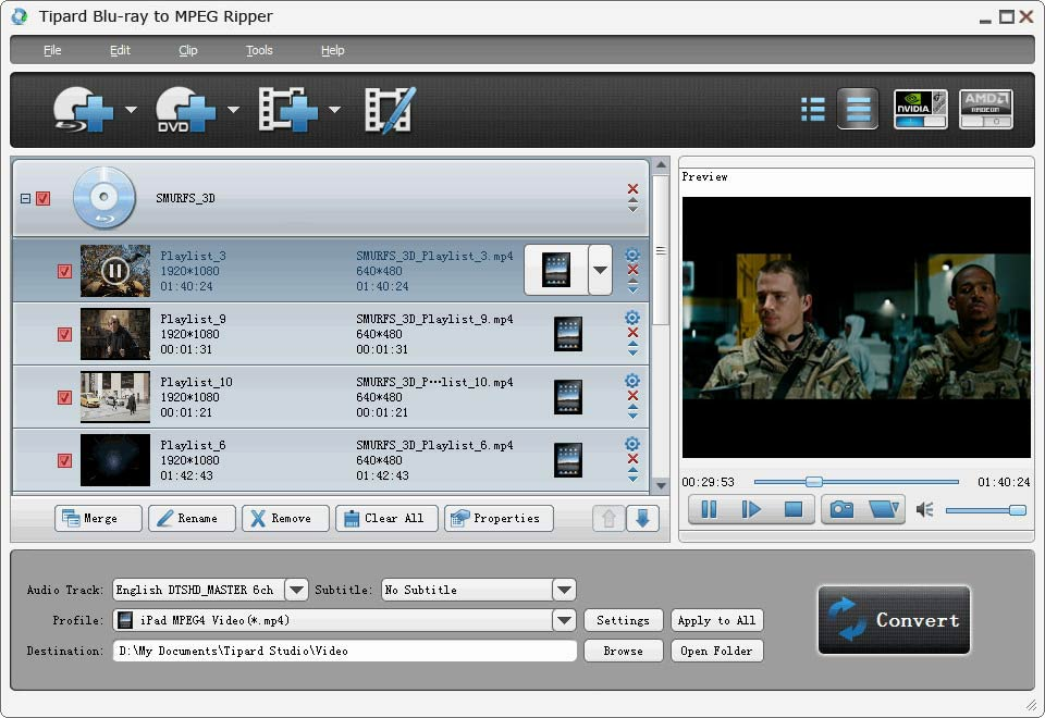 Tipard Blu-ray to MPEG Ripper Screen shot