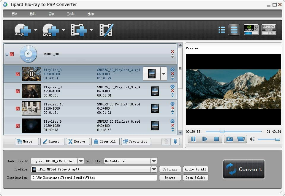 Tipard Blu-ray to PSP Converter Screen shot